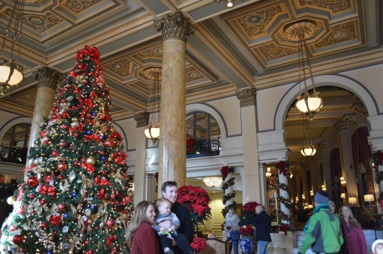 Christmas inside the Willard Hotel.