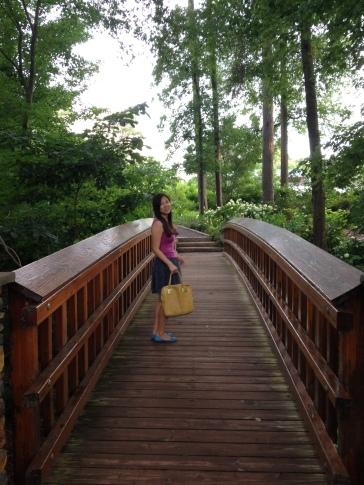 Crossing the Bridge in Dukes Garden